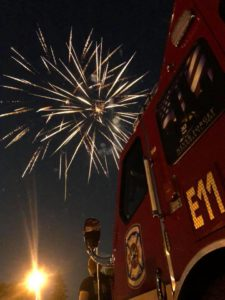Fireworks and fire truck